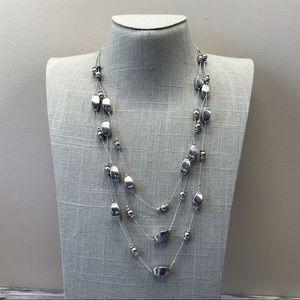 triple strand plastic silver illusion necklace